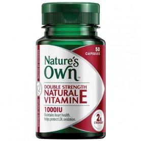 Nature's Own Double Strength Natural Vitamin E 1000IU 50 Capsules